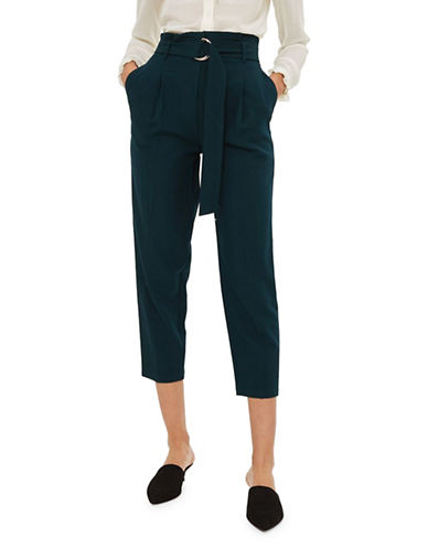 Topshop PETITE Belted Waist Peg Trousers-FOREST-UK 10/US 6