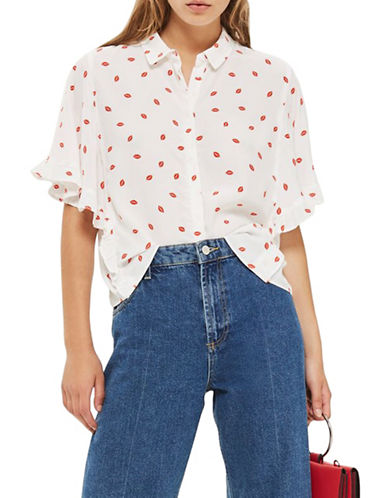 Topshop Lip-Print Casual Shirt-IVORY-UK 6/US 2