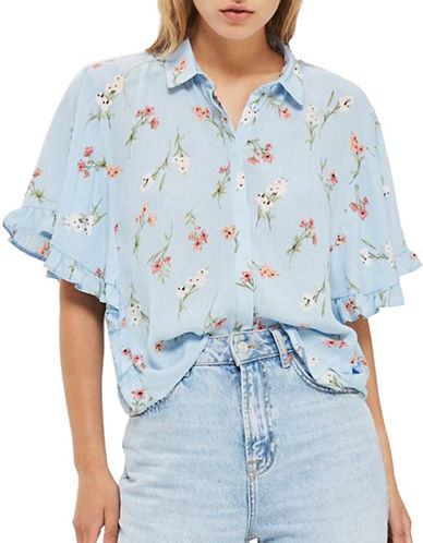 Topshop Floral Frill Shirt-LIGHT BLUE-UK 8/US 4
