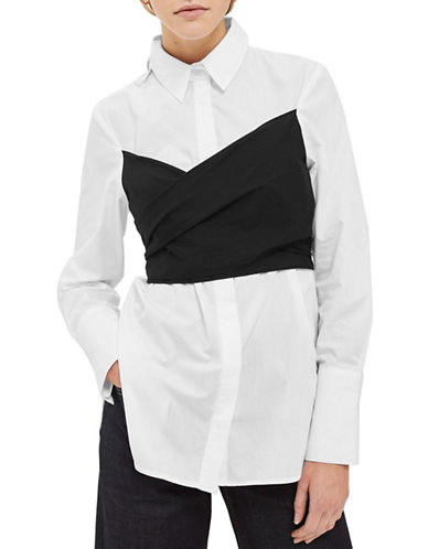Topshop Corset Wrap Shirt-MONOCHROME-UK 10/US 6
