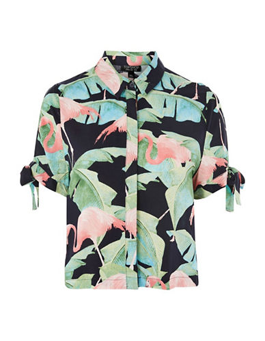 Topshop Tropical Flamingo Shirt-MULTI-UK 8/US 4