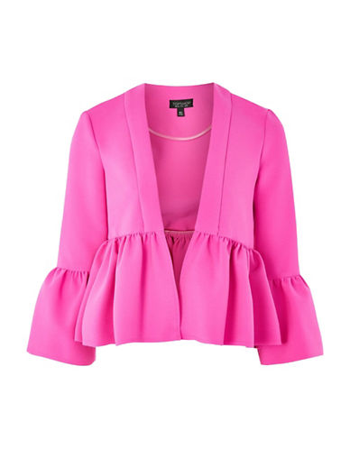 Topshop Crop Frill Jacket-FUSCHIA-UK 10/US 6