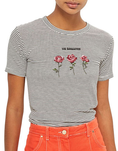 Topshop Romance Rose Stripe T-Shirt-MONOCHROME-UK 14/US 10