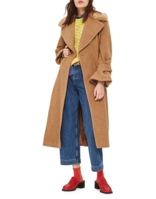 Wool-Blend Belted Coat with Faux Fur Collar
