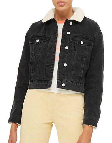 Topshop MOTO Cropped Borg Denim Jacket-WASHED BLACK-UK 8/US 4
