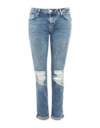 Topshop MOTO Ripped Lucas Jeans 30-Inch Leg-MID DENIM-24X30