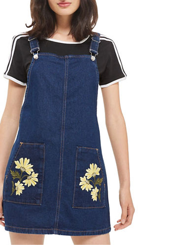 Topshop MOTO Floral Pocket Pinafore Dress-DENIM-UK 10/US 6