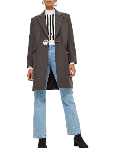 Topshop Wool-Blend Wide Crombie Coat-GREY-UK 6/US 2