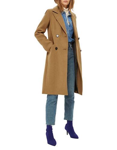 Topshop Editors Wool-Blend Coat-CAMEL-UK 6/US 2