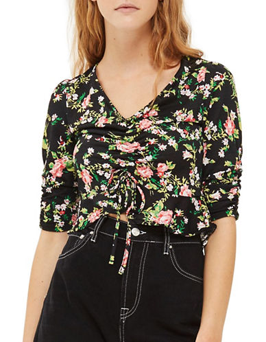 Topshop PETITE Floral Ruche Crop-BLACK-UK 8/US 4