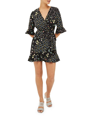 Topshop PETITE Floral Print Tea Dress-BLACK-UK 12/US 8