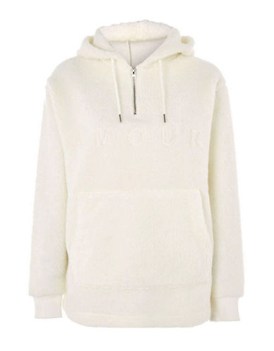 Topshop Borg Amour Slogan Hoody by Tee & Cake-CREAM-UK 6/US 2