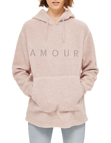 Topshop Amour Borg Hoodie-DUSTY PINK-UK 12/US 8