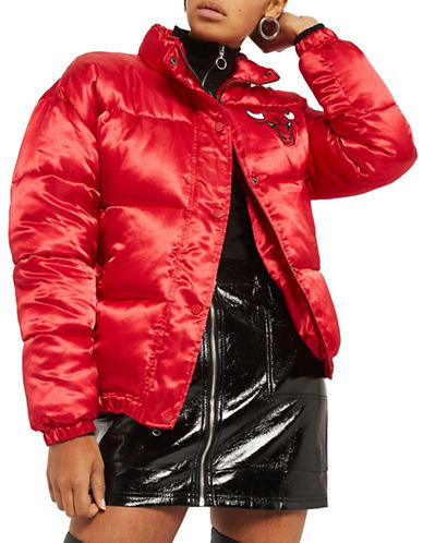 Topshop Chicago Bulls Puffer Jacket by UNK-RED-Medium
