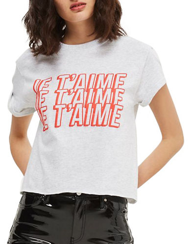 Topshop Je Taime Crop T-Shirt-LIGHT GREY-Small