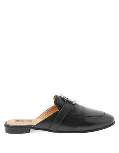Topshop Kokonut Leather Mules-BLACK-EU 37/US 6.5