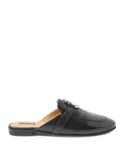 Topshop Kokonut Leather Mules-BLACK-EU 38/US 7.5