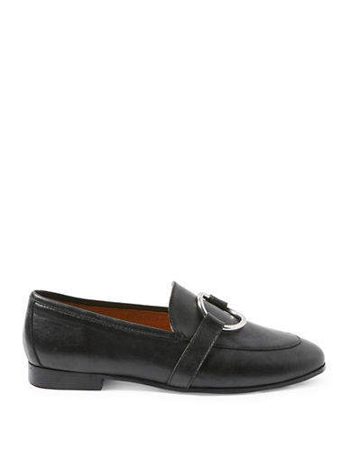 Topshop Kreme Ring Leather Loafers-BLACK-EU 40/US 9.5