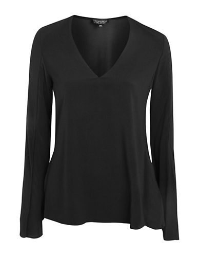 Topshop V-Neck Blouse-BLACK-UK 14/US 10
