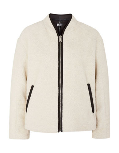 Topshop Rupert Borg Biker Jacket-CREAM-UK 14/US 10