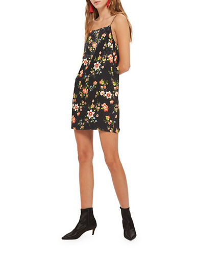 Topshop Blossom Jacquard Slip Dress-BLACK-UK 8/US 4