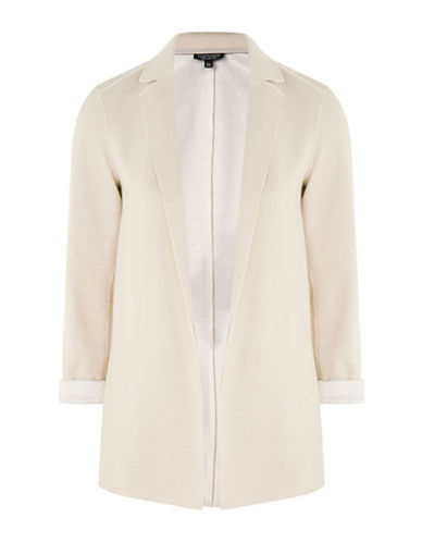 Topshop Jersey Boyfriend Jacket-OATMEAL-UK 12/US 8