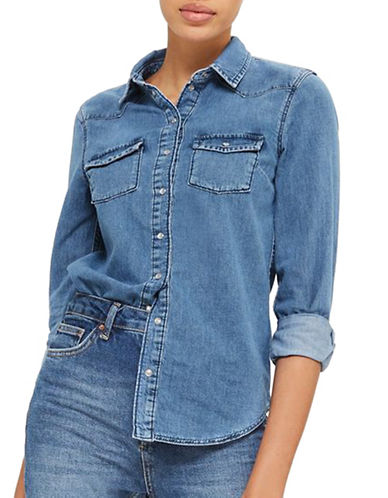 Topshop MOTO Fitted Denim Shirt-MID DENIM-UK 8/US 4
