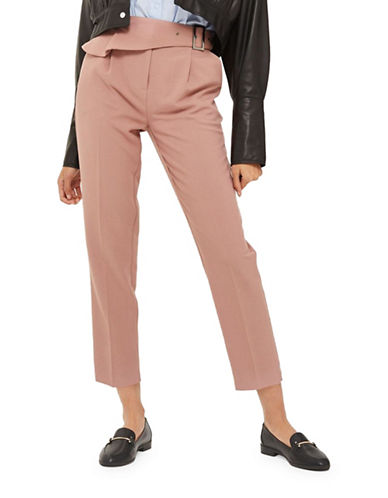 Topshop Ruffle Peg Trousers-BLUSH-UK 10/US 6