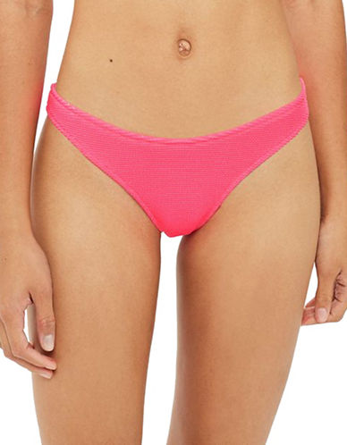 Topshop Shirred High Leg Bikini Bottoms-PINK-UK 12/US 8