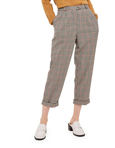 Topshop PETITE Checked Boyfriend Trousers-BROWN-UK 12/US 8