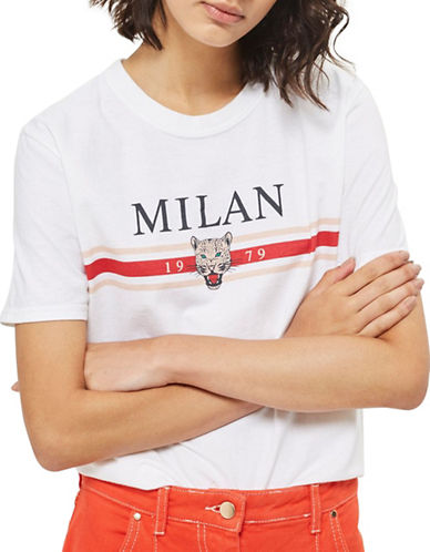 Topshop Milan Slogan T-Shirt by Tee & Cake-CREAM-X-Small