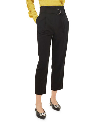 Topshop Paperwaist Peg Trousers-BLACK-UK 10/US 6