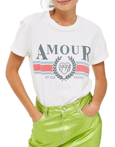 Topshop TALL Amour Slogan T-Shirt-WHITE-Large
