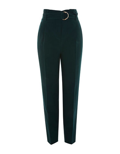 Topshop TALL Belted Waist Peg Trousers-FOREST-UK 12/US 8