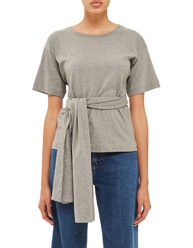 Topshop Wrap Waist Tee by Boutique-GREY MARL-UK 14/US 10