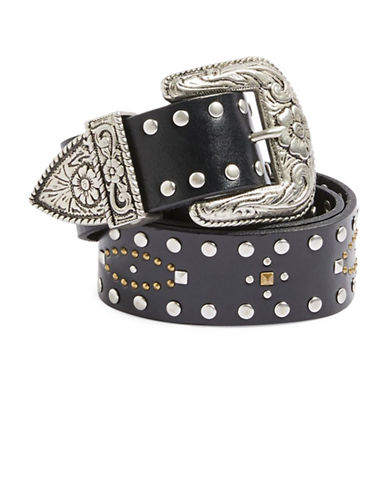 Topshop Leather Mix Stud Western Belt-BLACK-Small