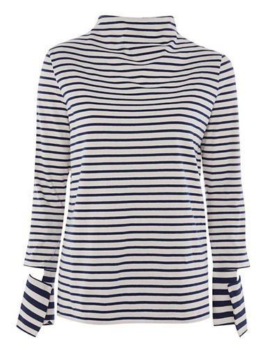 Topshop Striped Cut Cuff Sleeve Top by Boutique-NAVY BLUE-UK 14/US 10