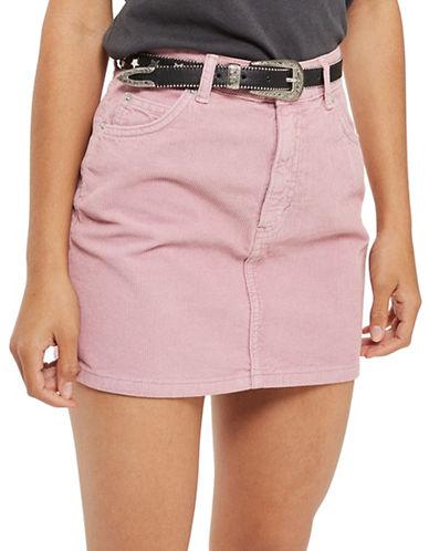 Topshop Moto Pink Cord Mini Skirt-ROSE-UK 12/US 8