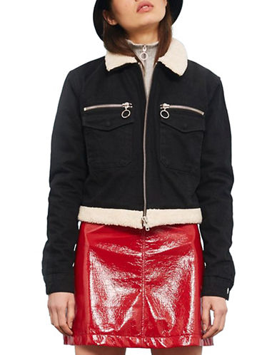 Topshop MOTO Cropped Denim Borg Jacket-BLACK-UK 8/US 4