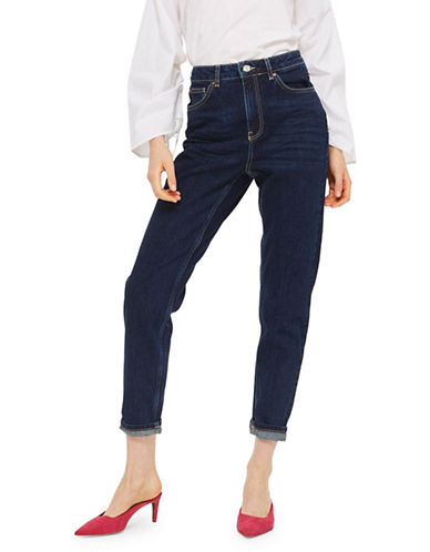 Topshop MOTO Dark Blue Mom Jeans-DARK STONE-30X34