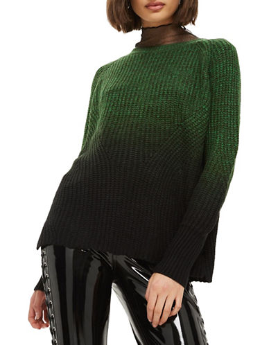 Topshop Twist Dip-Dye Sweater-GREEN-UK 12/US 8