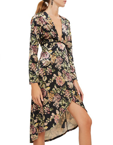 Topshop Velvet Floral Print Plunge Dress-BLACK-UK 10/US 6