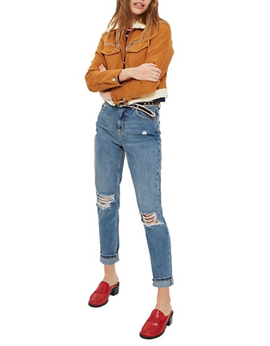 Topshop MOTO Ripped Mom Jeans 30-Inch Leg-DENIM-32X30