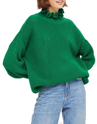 Topshop Frill Neck Longline Sweater-GREEN-UK 10/US 6