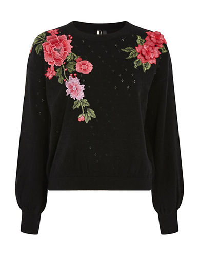 Topshop Stitch Patch Embroidered Sweater-BLACK-UK 6/US 2