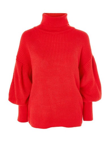 Topshop Balloon-Sleeved Sweater-RED-UK 6/US 2