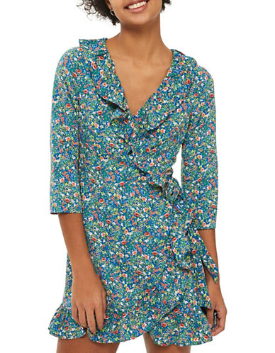 Topshop Floral Garden Ruffle Wrap Dress-BLUE-UK 12/US 8
