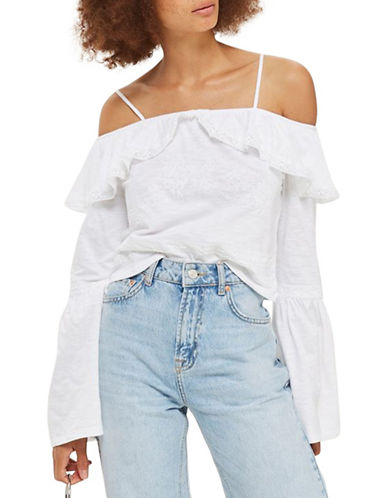 Topshop Embroidered Frill Bardot Top-WHITE-UK 8/US 4
