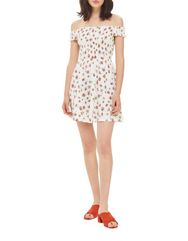 Topshop PETITE Bardot Shirred Tunic Dress-CREAM-UK 6/US 2