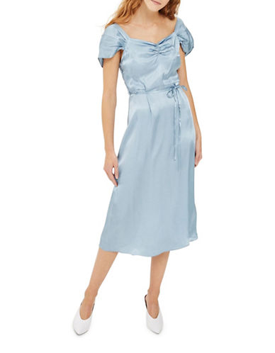 Topshop Satin Cold-Shoulder Midi Dress-BLUE-UK 14/US 10
